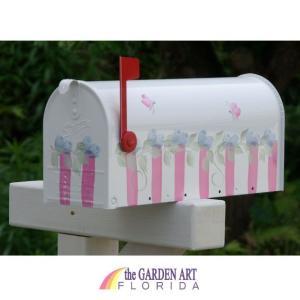【代引き不可】【送料無料】 アメリカンメールボックス バラとピンクのストライプ<GF-AMBX-02>|ポスト|郵便受け||jjprohome1