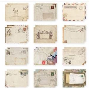 アンティーク封筒、シックで素敵な柄のミニ封筒60枚セット