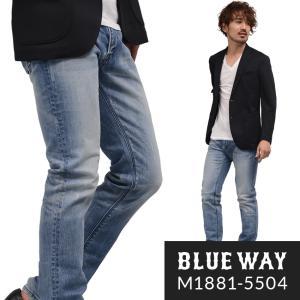 BLUEWAY レギュラーテーパードジーンズ ソリッドストレッチデニム(ハードビンテージ):M188...