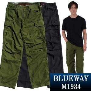 BLUEWAY ワイド カーゴパンツ・バックサテン:M1934 ワイド