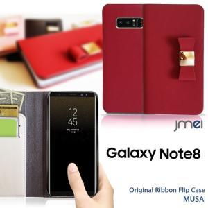 Galaxy Note8 ケース SC-01K SCV37 手帳型 本革 スマホケース リボン 手帳型ケース 手帳 スマホケース 全機種対応 samsung ギャラクシー ノート 8 かわいい|jmei