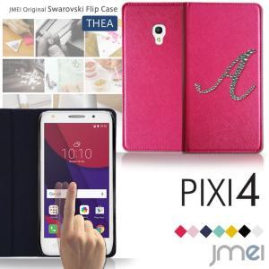 PIXI4 JMEIイニシャルスワロフスキーフリップケース THEA デコ イニシャル スマホケース...