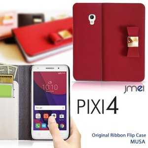 PIXI4 ケース 本革 リボン 手帳型ケース MUSA 手帳 スマホケース 全機種対応 ALCATEL One touch アルカテル ワンタッチ simフリー カバー|jmei