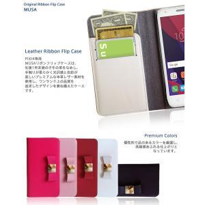 PIXI4 ケース 本革 リボン 手帳型ケース MUSA 手帳 スマホケース 全機種対応 ALCATEL One touch アルカテル ワンタッチ simフリー カバー jmei 04