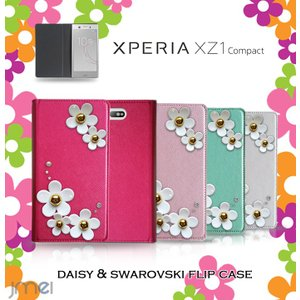 Xperia XZ1 Compact ケース SO-02K デイジー 手帳型ケース スワロフスキー スマホケース 全機種対応 ソニー エクスペリア xz1 コンパクト カバー 手帳|jmei