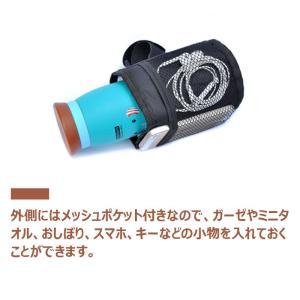 ボトルホルダー ベビーカー用 簡単取り付け ドリンクホルダー 防水 メッシュポケット付き jnh 04
