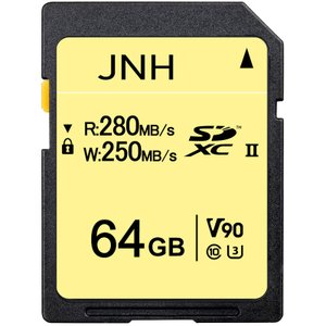 SDカード SDXC 64GB JNHブランド 超高速R:280MB/S  W:250MB/S Class10 UHS-II U3 V90対応 8K Ultra HD【国内正規品5年保証】JN1409V90|jnh