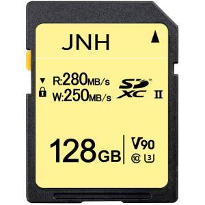 SDカード SDXC 128GB JNHブランド 超高速R:280MB/S  W:250MB/S Class10 UHS-II U3 V90対応 8K Ultra HD【国内正規品5年保証】JN1410V90|jnh