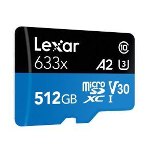 microSDXC 512GB  LEXAR レキサー Class10 UHS-I  U3 V30 A2 R:100MB/s W:70MB/s 4K対応 専用SDアダプター付 LSDMI512BBAP633Aプレミアム会員|jnh|02