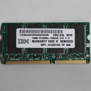 IBM製  8チップ 144ピン SODIMM PC100MHz 128MB メモリ バルク 新品|jnh
