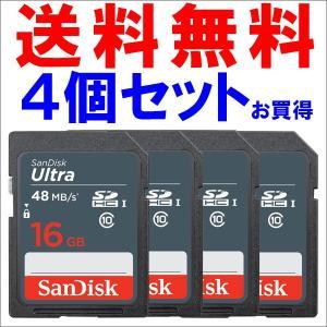 SDカード SDHCカード Ultra 16GB 【4個セットお買得】 UHS-I 48MB/s Class10 SanDisk サンディスク 海外向けパッケージ品|jnh