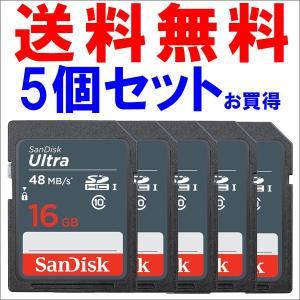 SDカード SDHCカード Ultra 16GB 【5個セットお買得】 UHS-I 48MB/s Class10 SanDisk サンディスク 海外向けパッケージ品|jnh