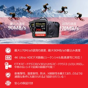 SanDisk Extreme Pro UHS-I U3 SDXC 256GB class10 170MB/s V30 4KUltra HD対応 SDSDXXY-256G-GN4IN 海外パッケージ品SA1411XXY 翌日配達 jnh 04