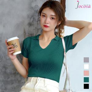 ニットトップス 半袖ニット 韓国ファッション 韓国 サマーニット グレー ホワイト 白 ピンク グリーン 緑 ブラック 黒 フリーサイズ JOCOSA 7021|jocosa