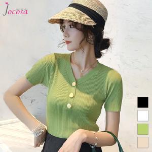 ニットトップス 半袖ニット 韓国ファッション 韓国 サマーニット ブラック 黒 ホワイト 白 グリーン 緑 ベージュ フリーサイズ JOCOSA 7025|jocosa