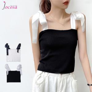 キャミソール ニットキャミソール ショート丈 韓国ファッション 韓国 トップス サマーニット ホワイト 白 ブラック 黒 フリーサイズ JOCOSA 7026|jocosa