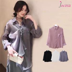 シアーシャツ シャツブラウス トップス 韓国ファッション 韓国 長袖 チュニック ブラック 黒 ホワイト 白 グレー ピンク M L JOCOSA 7028|jocosa
