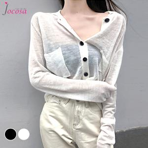 カーディガン サマーニット シアーシャツ 無地 オフィス UV対策 セクシー シンプル 大人可愛い レディース ブラック 黒 ホワイト 白 フリーサイズ JOCOSA 8357|jocosa