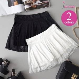 ペチコート ペチパンツ メッシュ スカート付き レース ショートパンツ 透けない レディース インナー ブラック ホワイト 黒 白 JOCOSA 即納 8531