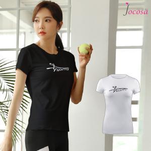 スポーツウェア トップス Tシャツ 韓国ファッション 韓国 半袖 レディース フィットネス ブラック 黒 ホワイト 白 S M L XL JOCOSA 8740 jocosa