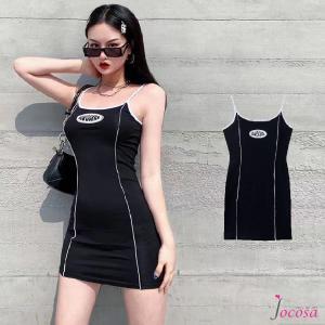 ワンピース キャミソール ミニワンピース 韓国ファッション 韓国 セクシー キャミワンピース スポーティー ブラック 黒 S M L JOCOSA 8864|jocosa