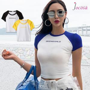 Tシャツ レディース 半袖 ロゴ ラグランスリーブ へそ出し ショート丈 トップス 春 夏 秋 冬 薄手 カジュアル ブラック ブルー イエロー 黒 青 黄色 JOCOSA 8948|jocosa