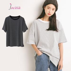 Tシャツ レディース 半袖 ボーダー 綿100% 5分袖 トップス ゆったり 大きいサイズ 春 夏 薄手カジュアル ブラック ホワイト 黒 白 JOCOSA 8950|jocosa