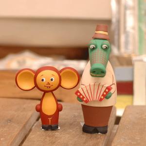チェブラーシカ ゲーナ 木製人形セット|johnnyjumpup