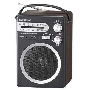 オーム電機 ポータブル木製ラジオ ブラック 幅13.5×高さ21×奥行13.2cm(キャリーバンド、...
