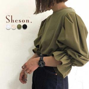 Sheson(シーズン)異素材タックバルーン袖Tシャツ         身頃はTシャツ素材で袖はサラ...