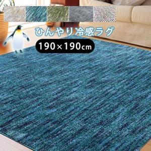 スーパークールストリーム 190×190cm ラグ ラグマット カーペット 絨毯 夏用 夏 ひんやり サマーラグ 北欧 おしゃれ 涼感 遮音 防ダニ 抗菌|jonan-interior