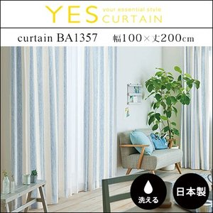 カーテン 既製カーテン YESカーテン BA1357(約)幅100×丈200cm[片開き] ウォッシャブル 日本製 洗える 国産 タッセル フック ナチュラル おしゃれ アスワン|jonan-interior