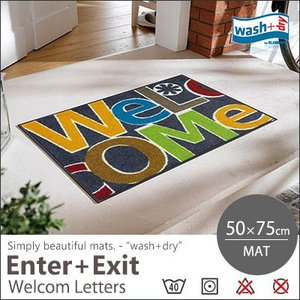 【送料無料】玄関マット マット キッチンマット 洗える wash+dry(ウォッシュアンドドライ) Welcome Letters/50×75cm|jonan-interior