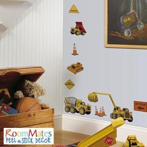 ウォールステッカー シール式 子供部屋 乗り物 キッチン 男の子 壁 窓 ドア ガラス 北欧 おしゃれ RoomMates(ルームメイツ) アンダーコンストラクション|jonan-interior