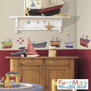 ウォールステッカー シール式 子供部屋 海 船 キッチン 男の子 壁 窓 ドア ガラス 北欧 おしゃれ RoomMates(ルームメイツ) シップシェイプ|jonan-interior