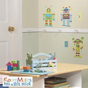 ウォールステッカー シール式 子供部屋 ロボット 男の子 壁 窓 ドア ガラス 北欧 おしゃれ RoomMates(ルームメイツ) ビルドユアオウンロボット|jonan-interior