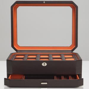 ウルフ 時計収納ケース(10本収納) ジュエリーボックス ブラウン/ オレンジWOLF 458606-WINDSOR 返品種別B|joshin