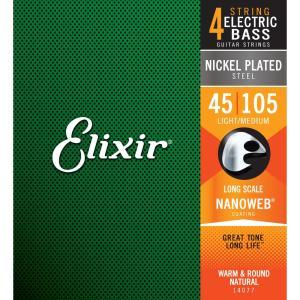 エリクサー エレキベース弦(.045-.105)ロングスケール Elixir NANOWEB Medium /  Long Scale 14077(ELIXIR) 返品種別A