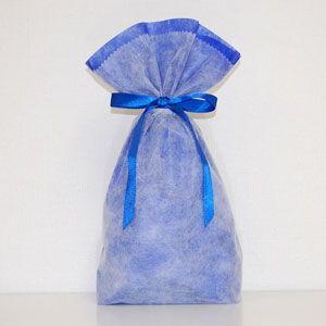 シモジマ 不織布リボン巾着袋 Mサイズ(ブルー) 返品種別B|joshin