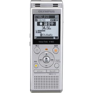 オリンパス 4GBメモリ内蔵+外部マイクロSDスロット搭載ICレコーダー(シルバー) OLYMPUS Voice-Trek V-862-SLV 返品種別A|joshin