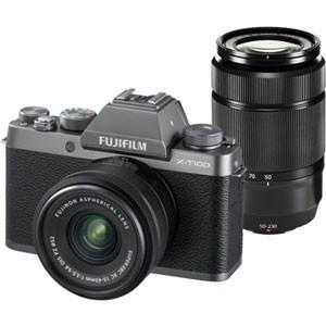 富士フイルム ミラーレス一眼カメラ「FUJIFILM X-T100」ダブルズームレンズキット(ダークシルバー) FX-T100WZLKDS 返品種別A joshin