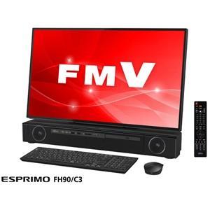 富士通 27型 デスクトップパソコン FMV ESPRIMO FH90/ C3 ブラック (Core i7/ メモリ 8GB/ HDD 3TB/ Office H&B 2016) FMVF90C3B 返品種別A|joshin