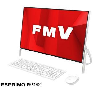 富士通 23.8型 デスクトップパソコンFMV ESPRIMO FH52/ D1 ホワイト (Celeron/ メモリ 4GB/ HDD 1TB/ Office Personal 2019) FMVF52D1W 返品種別A|joshin