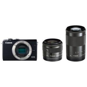キヤノン ミラーレスカメラ「EOS M100」ダブルズームキット(ブラック) EOSM100BK-WZK 返品種別A joshin