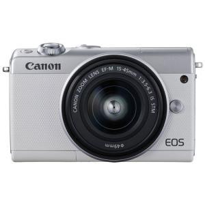 キヤノン ミラーレスカメラ「EOS M100」EF-M15-45 IS STMレンズキット(ホワイト) EOSM100WH-1545LK 返品種別A|joshin