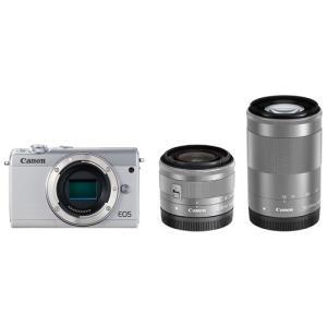 キヤノン ミラーレスカメラ「EOS M100」ダブルズームキット(ホワイト) EOSM100WH-WZK 返品種別A joshin