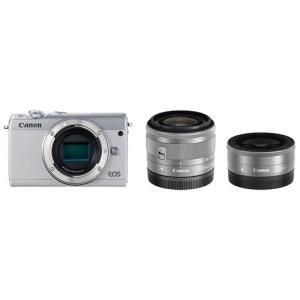 キヤノン ミラーレス一眼カメラ「EOS M100」ダブルレンズキット(ホワイト) Canon EOSM100WH-WLK 返品種別A|joshin