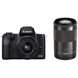 キヤノン ミラーレス一眼カメラ「EOS Kiss M」ダブルズームキット(ブラック) Canon EOSKISSMBK-WZK 返品種別A|joshin