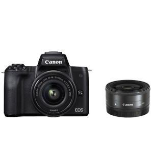 キヤノン ミラーレス一眼カメラ「EOS Kiss M」ダブルレンズキット(ブラック) Canon E...