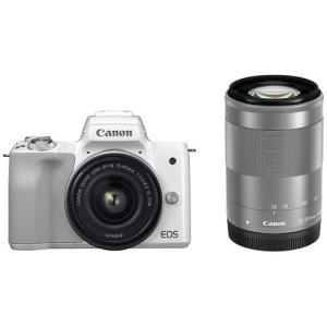 キヤノン ミラーレス一眼カメラ「EOS Kiss M」ダブルズームキット(ホワイト) Canon E...